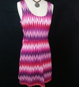 Tehama pink purple white sleeveless dress size M